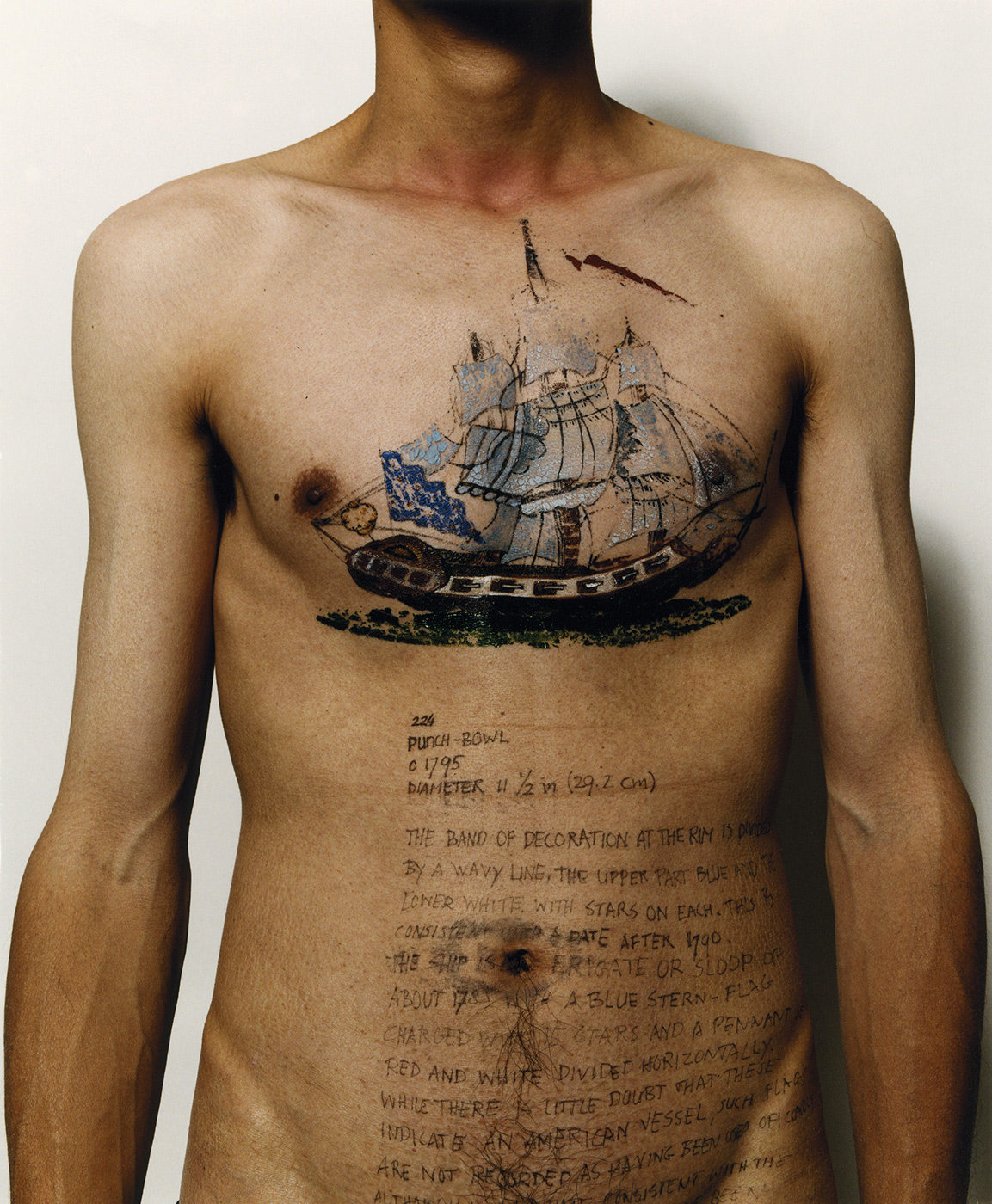 Haifeng Ni - Self-Portrait as Part of the Porcelain Export History 6 - Front with boats, 1999-2001